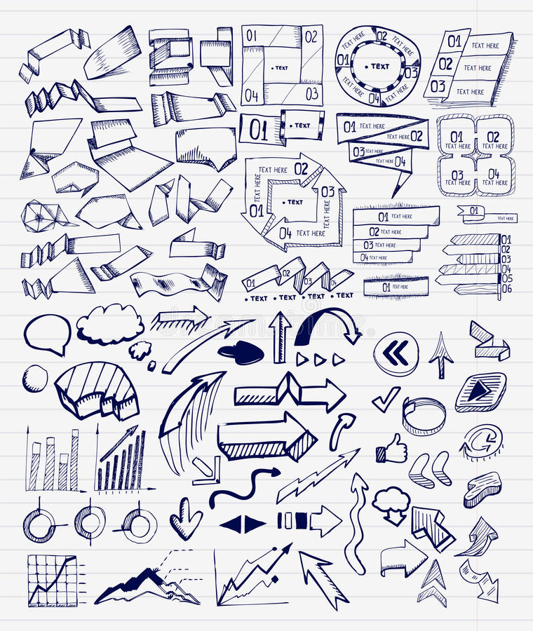 Mega collection of hand drawn arrow, charts, labels and block schemes royalty free illustration