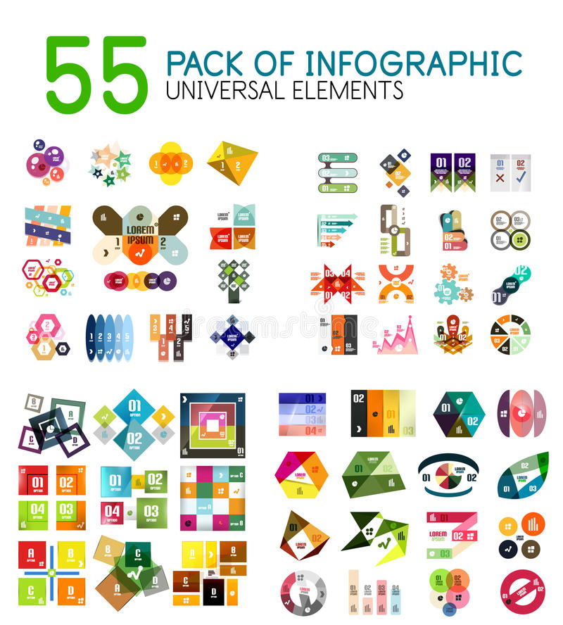 Mega collection of infographic templates. Geometrical modern design elements and backgrounds with text and options. Business presentation illustrations royalty free illustration