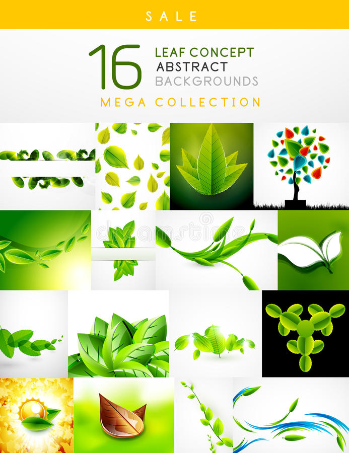 Mega collection of leaf abstract backgrounds. Mega collection of leaf concept nature abstract backgrounds stock illustration