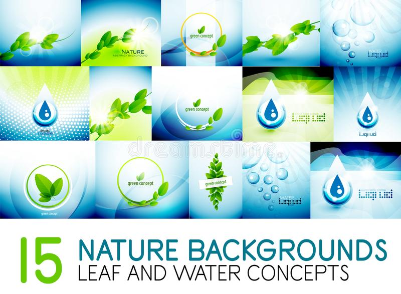 Mega collection of nature leaves and water concept backgrounds. Environmental and eco ideas. Digital vector illustrations royalty free illustration