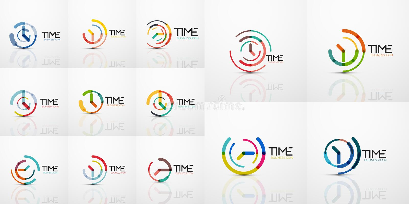 Mega collection of vector abstract logo idea, time concept or clock business icon. Creative logotype design template. Vector illustration royalty free illustration