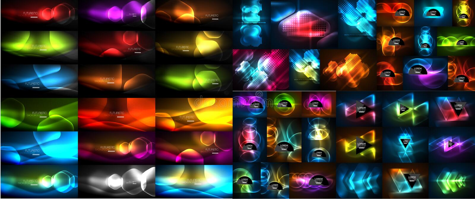 Mega collection of vector glowing effect abstract backgrounds - shiny lines, waves, geometric forms in the dark with royalty free illustration