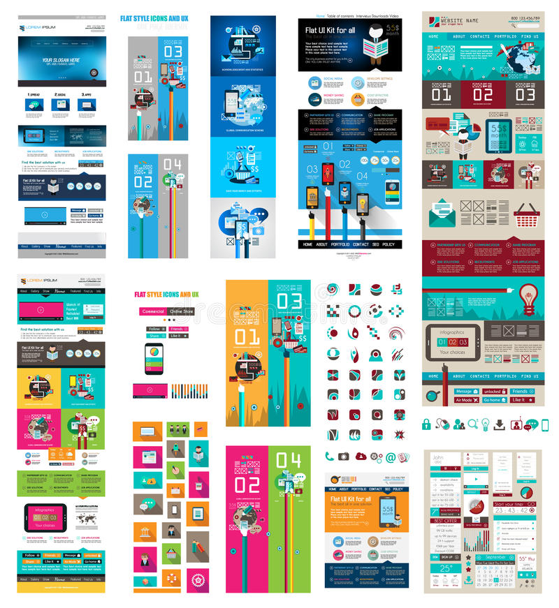 Mega Collection of Website templates, web header. S, Footers, menu, drop menu, website icons, design elements for web pages, panels, buttons and so on royalty free illustration