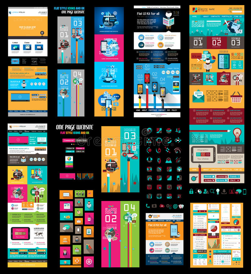 Mega Collection of Website templates, web headers, Footers. Menu, drop menu, website icons, design elements for web pages, panels, buttons and so on royalty free illustration