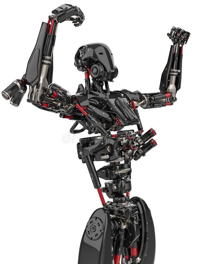 Mega czarnego robota super truteń w białym tle ilustracja wektor