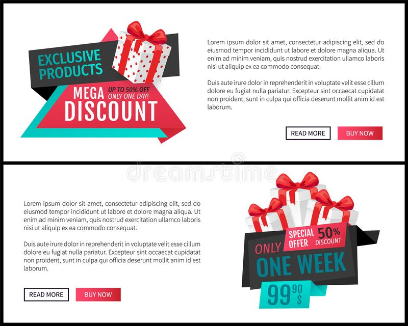 Mega Discount and Exclusive Products Web Pages royalty free illustration