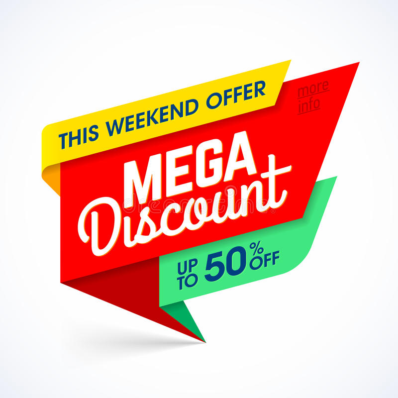 Mega discount weekend special offer banner stock illustration