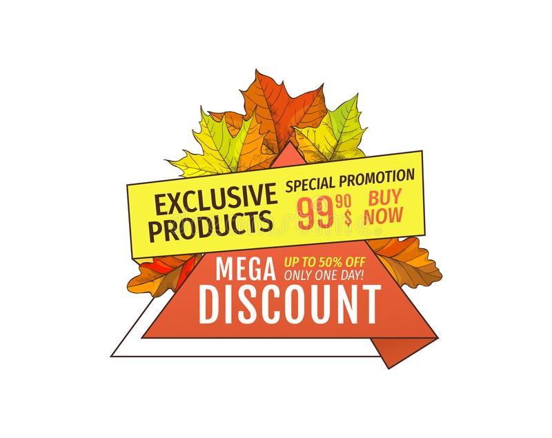 Mega Discounts on Exclusive Products Special Price vector illustration