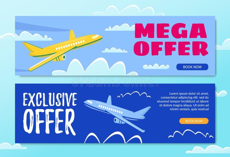 Mega erbjudande Artikel med ensamrätterbjudande bok nu Reklambladhimmel royaltyfri illustrationer