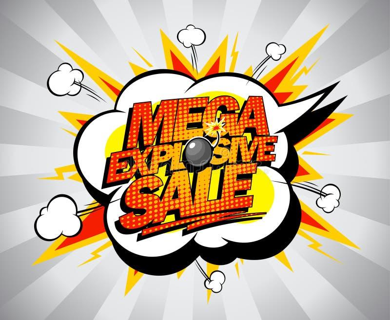 Mega explosieve verkoopbanner. royalty-vrije illustratie