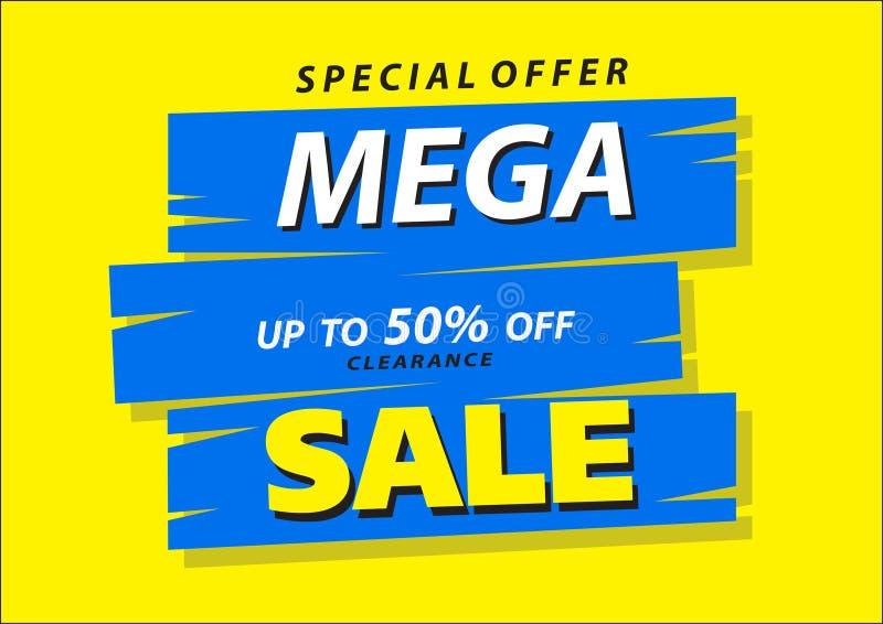 Mega försäljningsaffischbaner 50% stor försäljning, utförsäljning Chockpris yellow för vektor för askillusrationladdare trä stock illustrationer