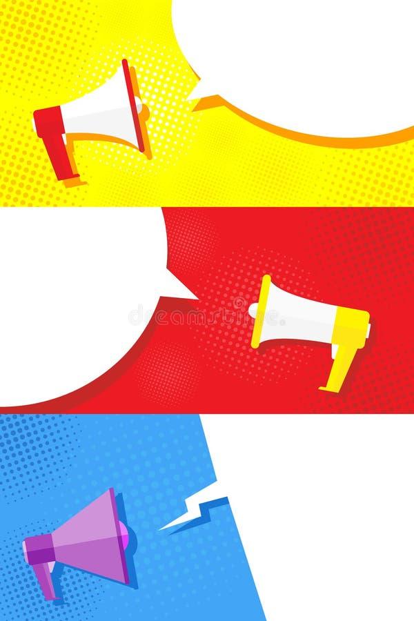 Mega fastställd megafonbild i olika stilar och på olika bakgrunder Befordrings- erbjudande eller baner Innehåll för text i royaltyfri illustrationer