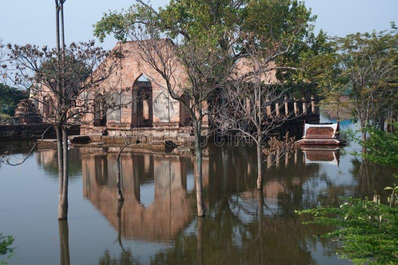 Mega floods at Ayuttaya temple in Thailand. stock photography