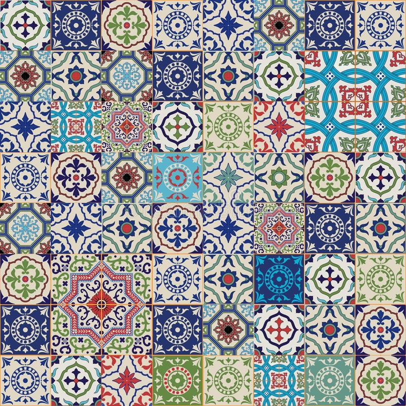 Mega Gorgeous seamless patchwork pattern from colorful Moroccan, Portuguese tiles, Azulejo, ornaments. vector illustration
