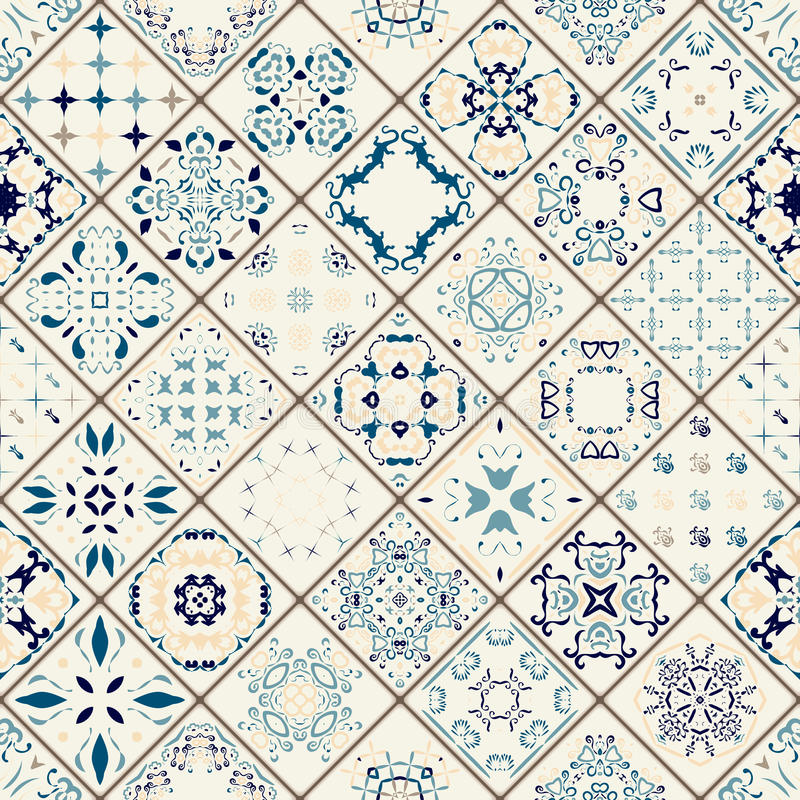 Mega Gorgeous seamless patchwork pattern from colorful Moroccan tiles, ornaments. stock illustration