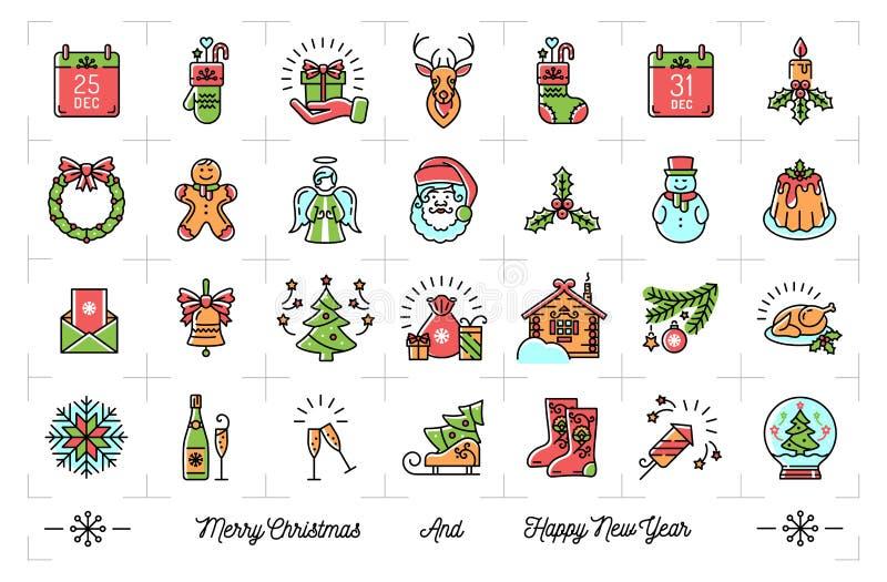 Mega- Ikonen des neuen Jahres stellten, Weihnachten lokalisierte Symbole, Winterurlaub ein vektor abbildung