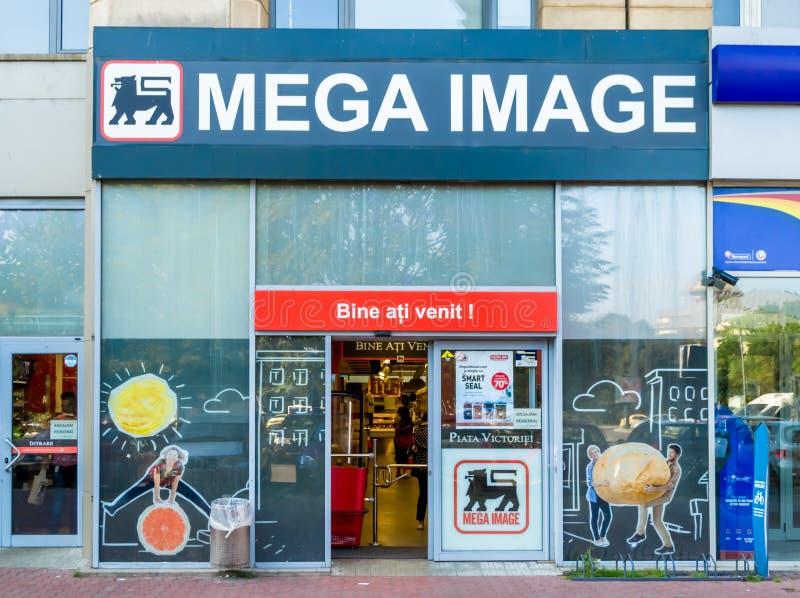 Mega Image supermarket. Mega Image store at Victoriei Square, Bucharest, Romania royalty free stock image