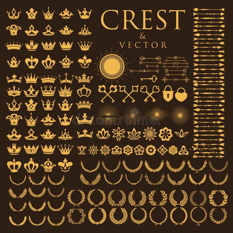 Mega inkasowy grzebień i heraldy logo royalty ilustracja