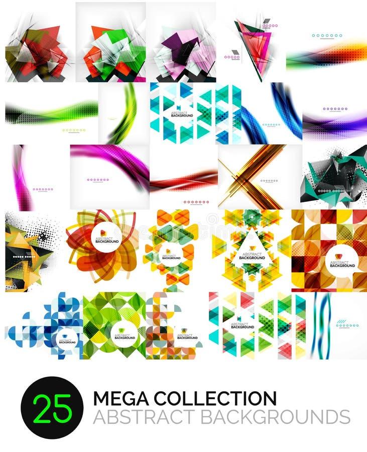 Mega kolekcja abstrakcjonistyczni tła ilustracja wektor