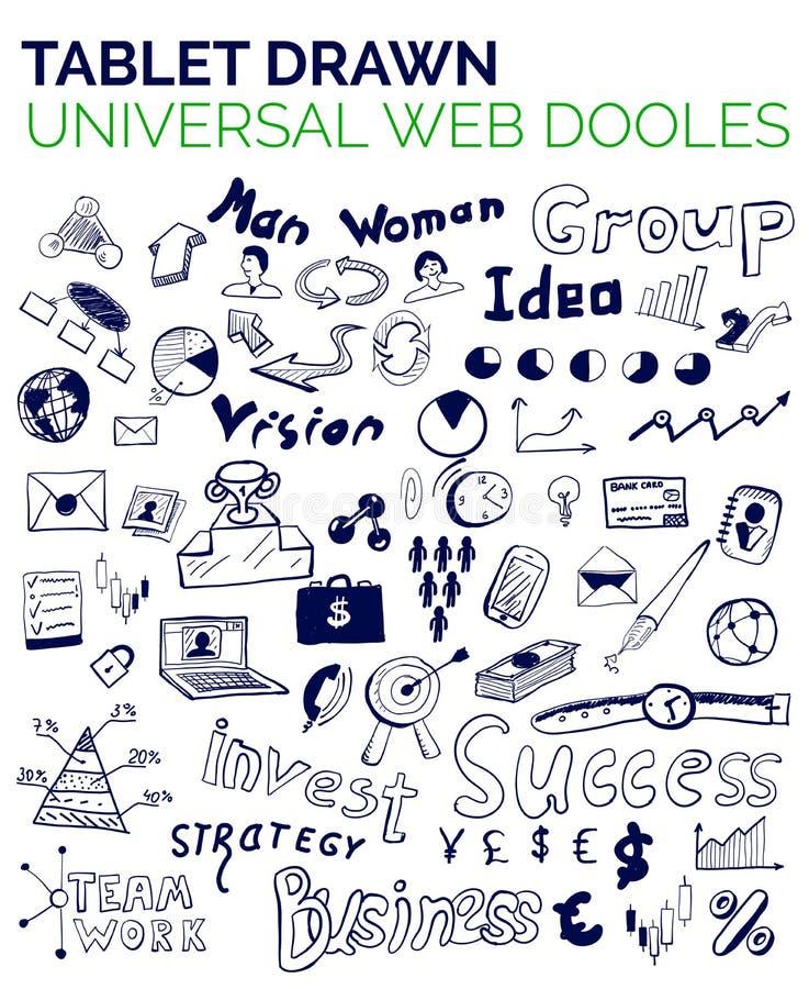 Mega kolekcja biznesowi sieci pojęcia, ręka rysująca doodles ilustracji
