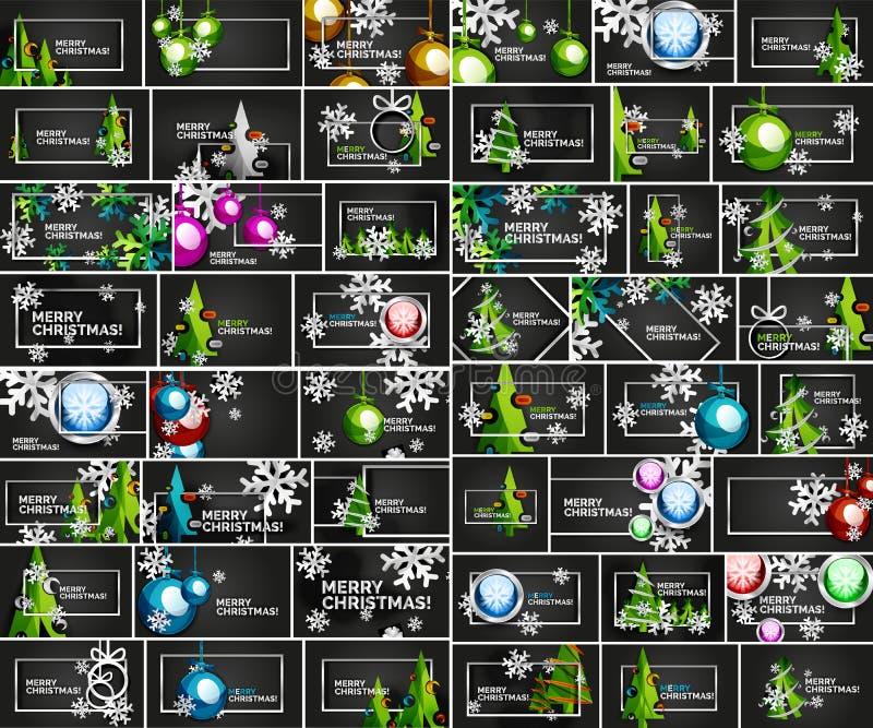 Mega kolekcja Chirstmas minimalni geometryczni abstrakcjonistyczni tła z choinką, Bożenarodzeniowa piłka, zima ilustracja wektor