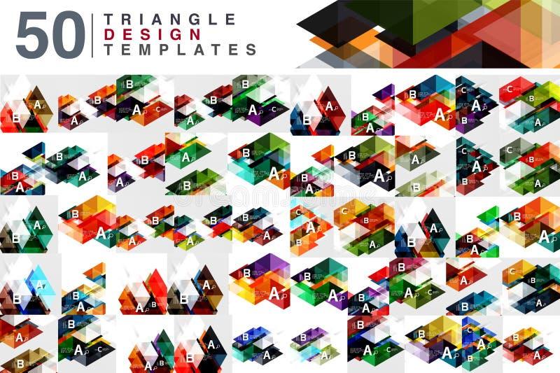 Mega kolekcja 50 koloru trójboka abstrakta przejrzystych tło ilustracji