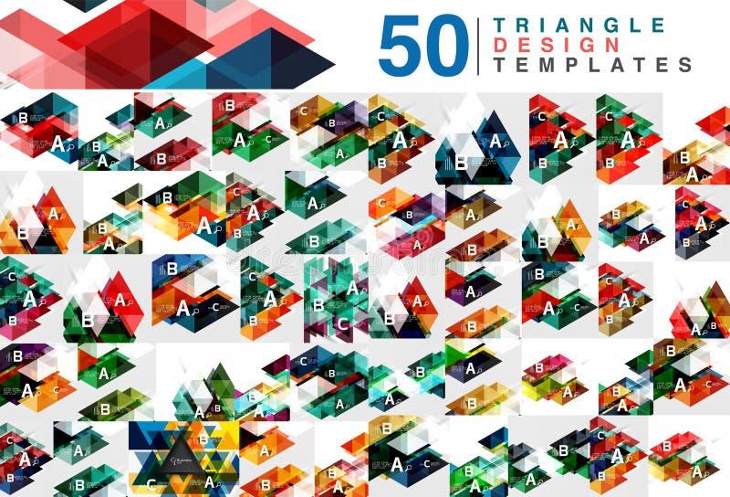 Mega kolekcja 50 koloru trójboka abstrakta przejrzystych tło royalty ilustracja