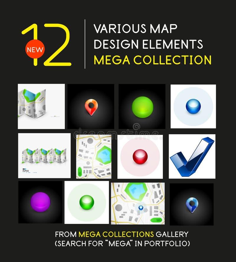 Mega kolekcja mapa projekta elementy ilustracja wektor