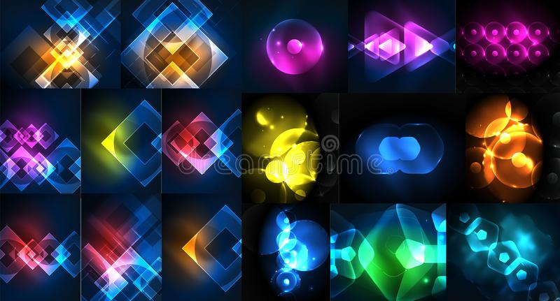 Mega kolekcja neonowi abstrakcjonistyczni kształtów tła, magiczni fantastyczni rozjarzeni szablony dla sieci lub techno cyfrowy, ilustracji