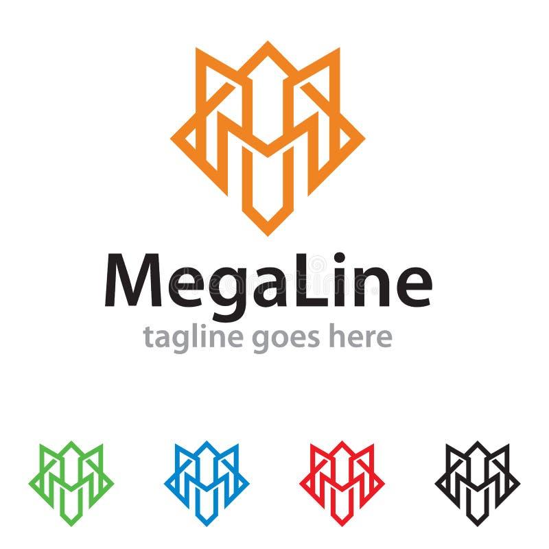Mega linje Logo Template Design Vector stock illustrationer