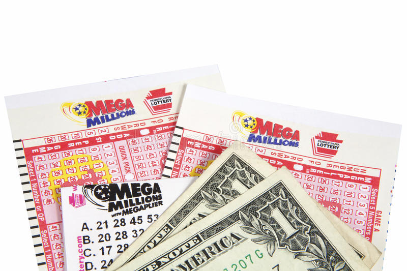 Mega Millions Tickets. Mega Millions lottery game pieces with a ticket and cash