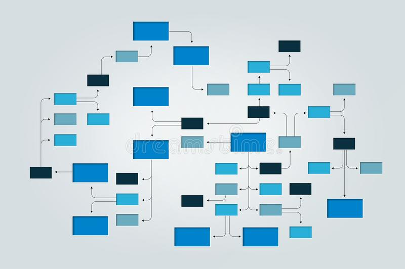 Mega Mind map, flowchart, infographic. Blue color vector vector illustration