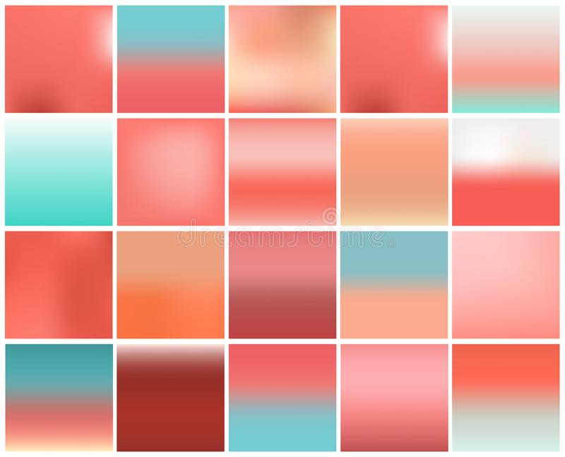 Mega pack of 20 blurred abstract background. Pastel tone color collection set. Wallpaper and Texture concept. Popular pantone. Trend for year 2019 stock illustration