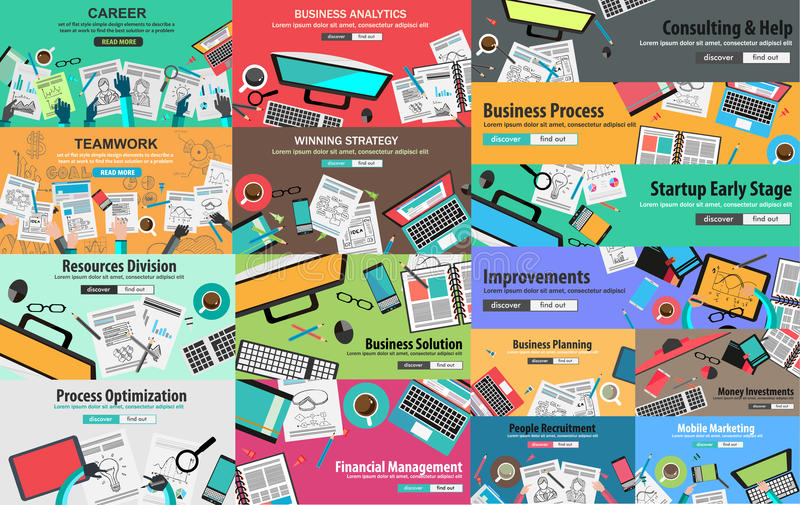 MEGA PACK of Design Concepts for business strategy. MEGA PACK of Flat Style Design Concepts for business strategy and career. Ideal for corporate brochures vector illustration