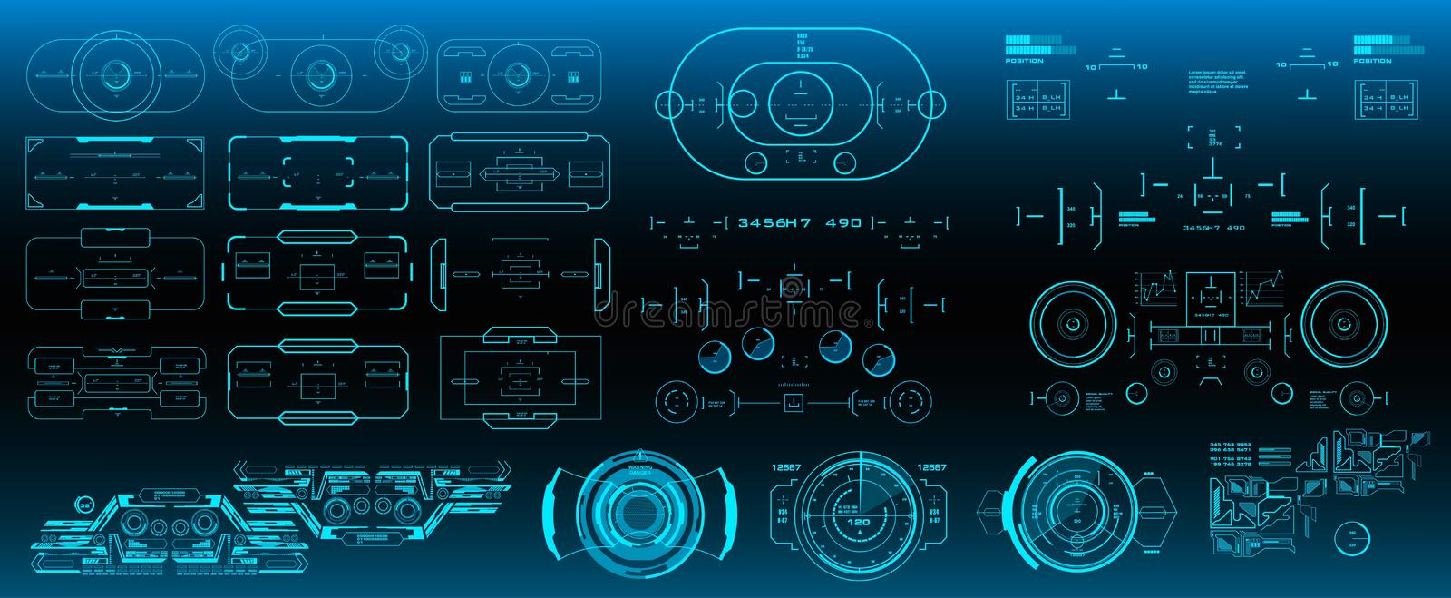 Mega pack set target. HUD futuristic user interface. Futuristic virtual graphic touch user interface. Mega pack set target. HUD futuristic user interface royalty free illustration