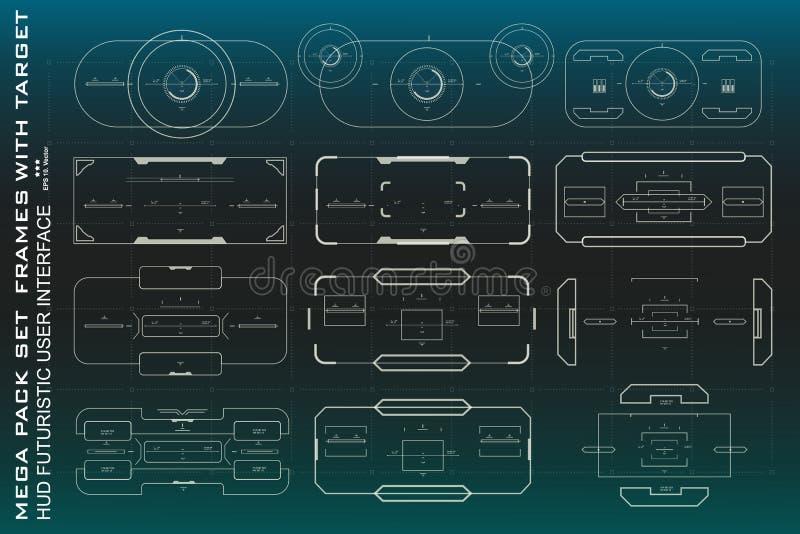 Mega paczka ustalonego celu dotyka futurystyczny wirtualny graficzny interfejs użytkownika, celu HUD interfejs ilustracji