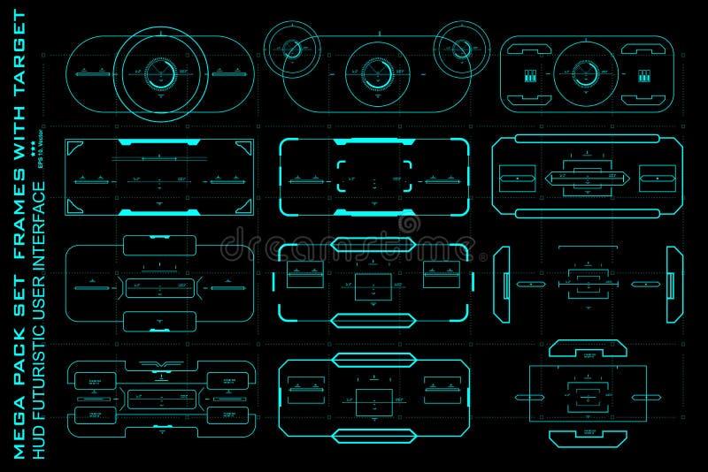 Mega paczka ustalonego celu dotyka futurystyczny wirtualny graficzny interfejs użytkownika, celu HUD interfejs royalty ilustracja