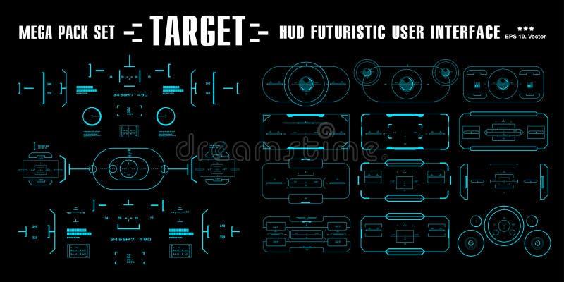 Mega paczka ustalonego celu dotyka futurystyczny wirtualny graficzny interfejs użytkownika, celu HUD interfejs ilustracja wektor