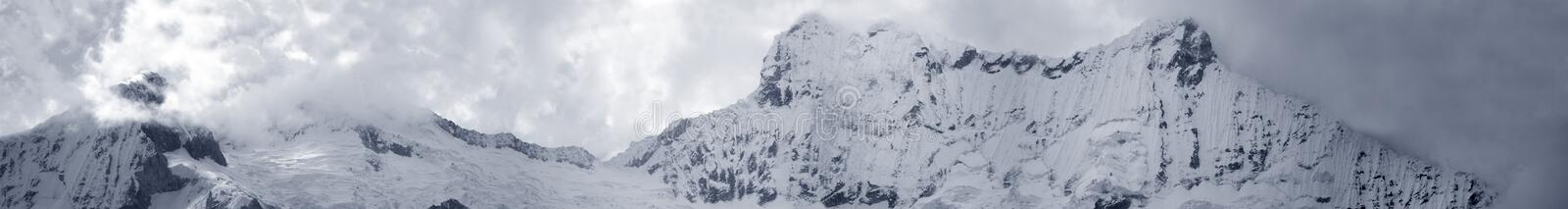 Mega Panoramic View Of Central Cordiliera Blanca Royalty Free Stock Photos