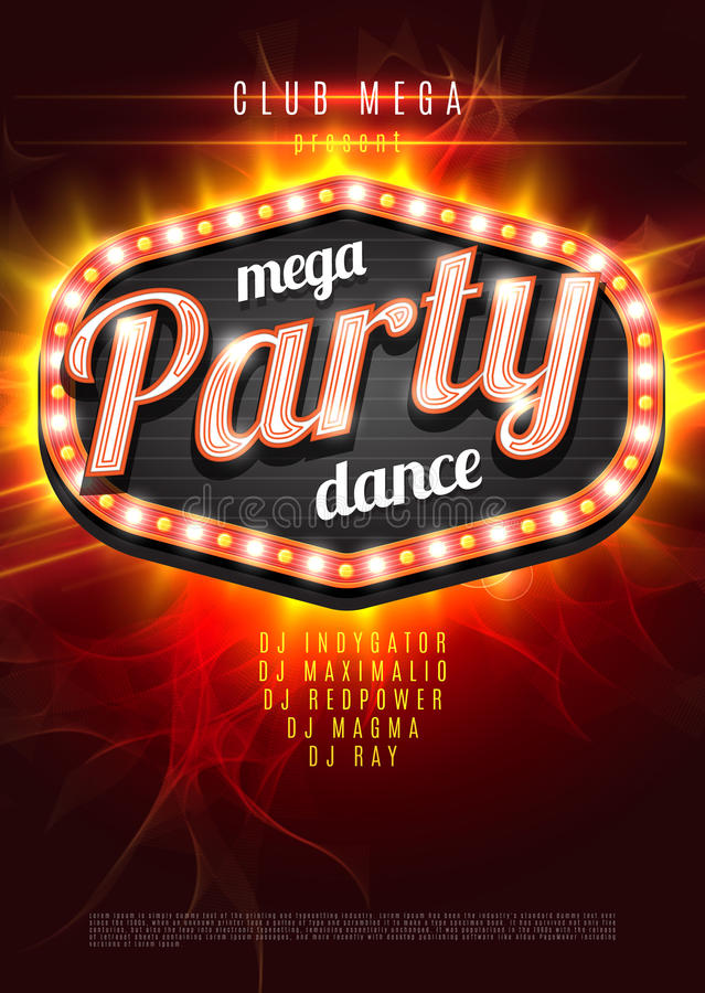 Mega Party Dance Poster Background Template with retro light frame on red flame background - Vector Illustration. royalty free illustration