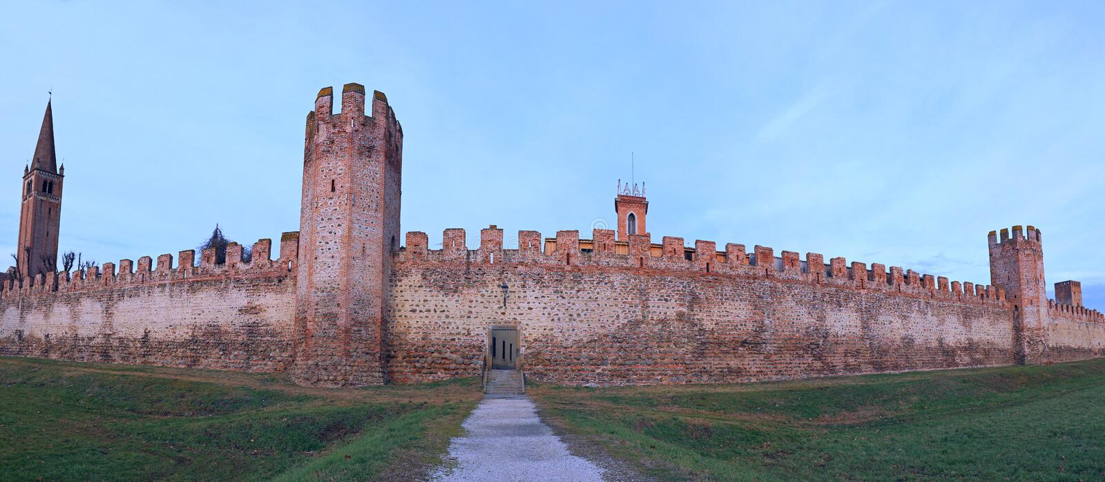 42 Mega Pixel Of Ancient City Wall of Montagnana Town in Italy. 42 Mega Pixel Of Ancient City Wall of Montagnana Town in Northern Italy near Padua stock photography