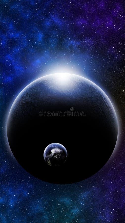 Mega planeta Z Inną planetą Na orbicie royalty ilustracja