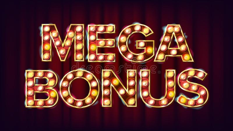 Mega Premiowy sztandaru wektor Kasynowego rocznika Złoty Iluminujący Neonowy światło Dla automat do gier Signboard projekta pomyś royalty ilustracja