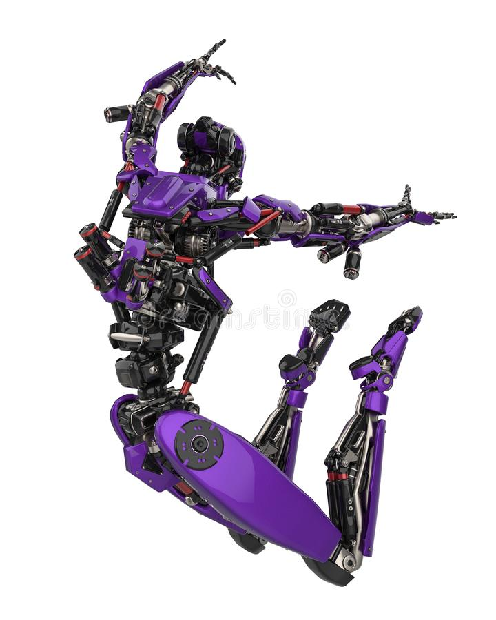 Mega purpere robot super hommel op een witte achtergrond stock illustratie