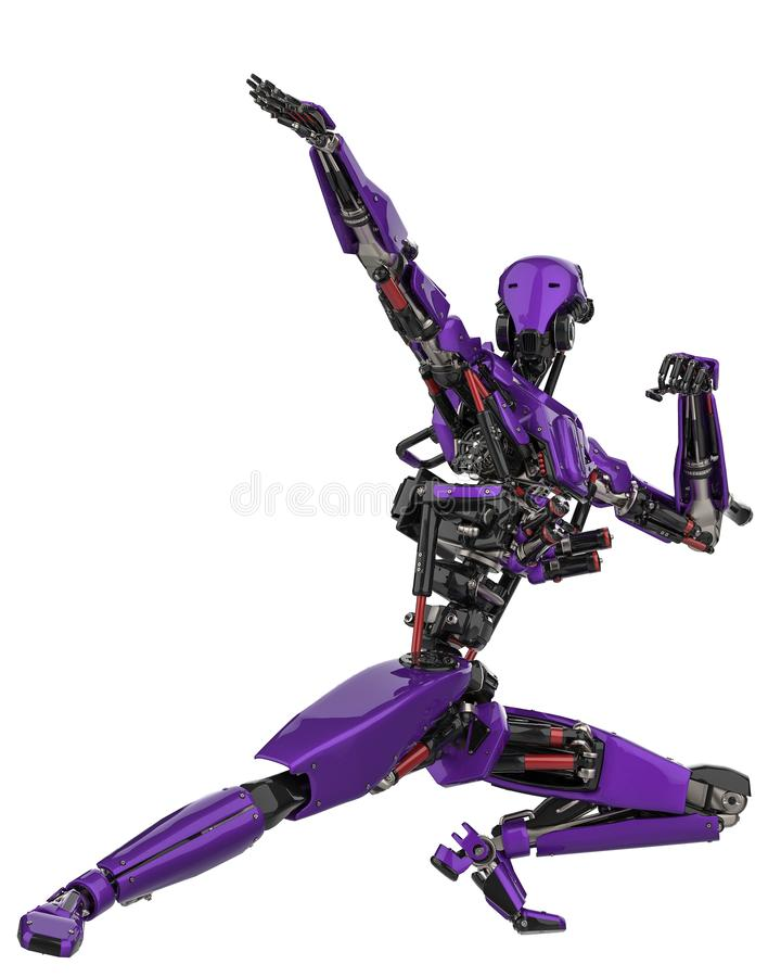 Mega purple robot super drone in a white background. This super robot will put some fun in yours creations, 3d illustration stock illustration