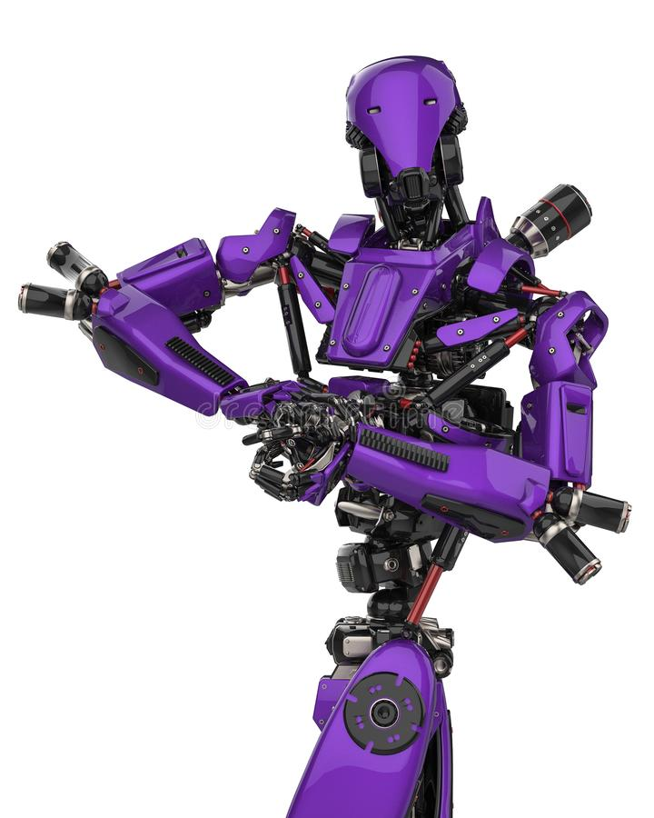 Mega purple robot super drone in a white background. This super robot will put some fun in yours creations, 3d illustration royalty free illustration