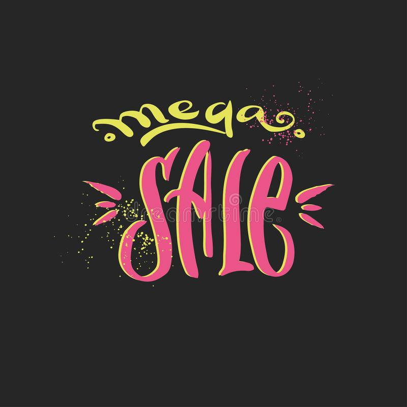 Mega ręka rysujący sprzedaży literowanie, ilustracji