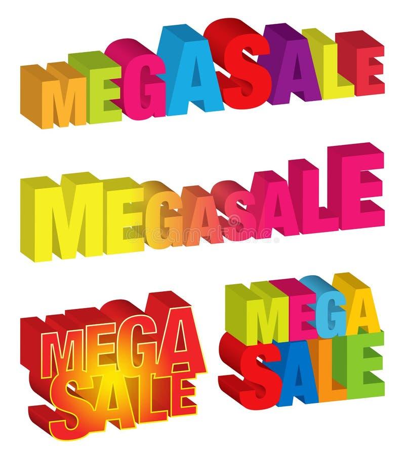 Mega Sale. A set of mega sale 3d graphic vector illustration