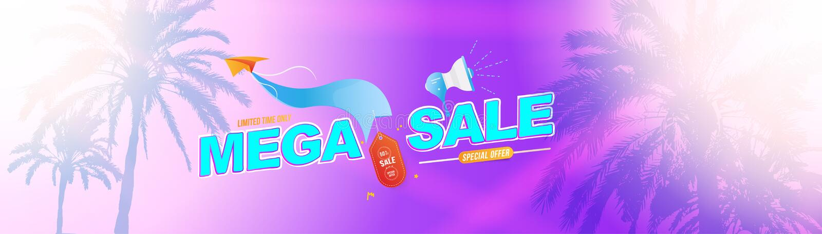 Mega Sale 50 banner template design with light effects and palm trees. Loudspeaker and paper airplane with special offer vector illustration