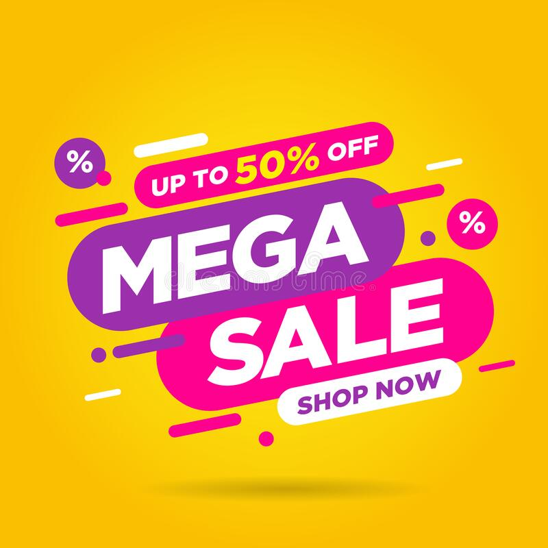 Mega Sale banner template comic design on yellow background royalty free stock photos